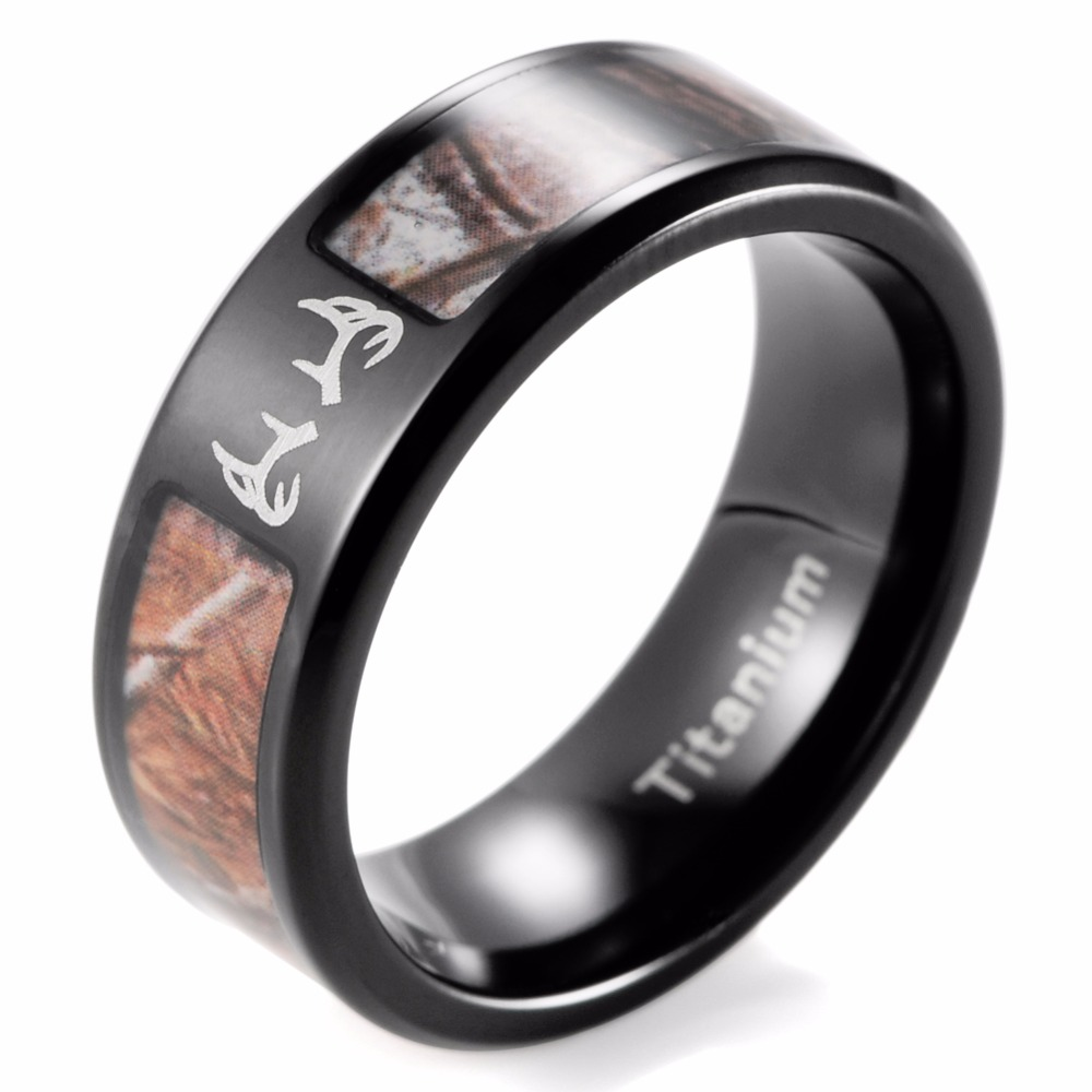 hunting wedding bands Fable Designs Black Zirconium with Mossy Oak New Break up Camouflage Inlay Wedding Band