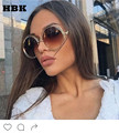 HBK Oversized Big Size Vintage Brand Designer Round Sunglasses Fashion Cool Classic Sun Glasses Mirror Lady Female Japan UV400