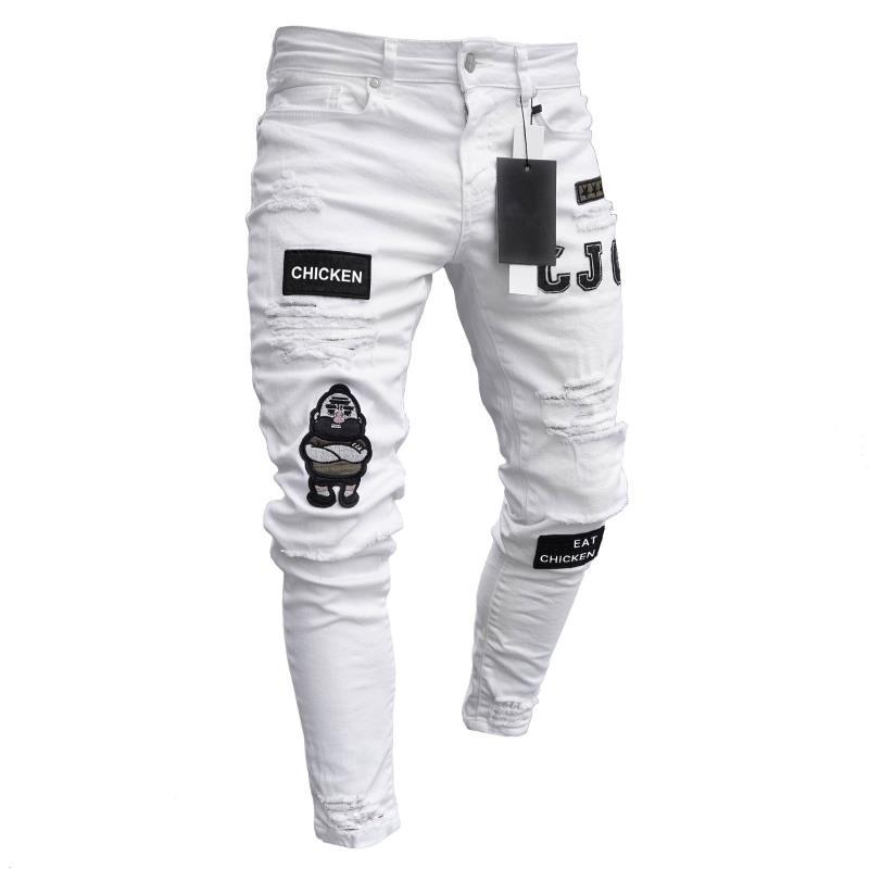 Hip Hop Men Stretchy Ripped Skinny Embroidery Print Jeans Destroyed Hole Taped Slim Fit Denim Scratched High Quality Jean TJWLKJ