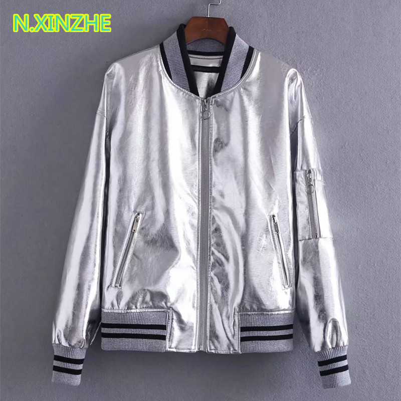 2018 women clothing long sleeve stand collar spliced PU jacket relaxed coat Female casual loose faux   leather   outerwear W2619