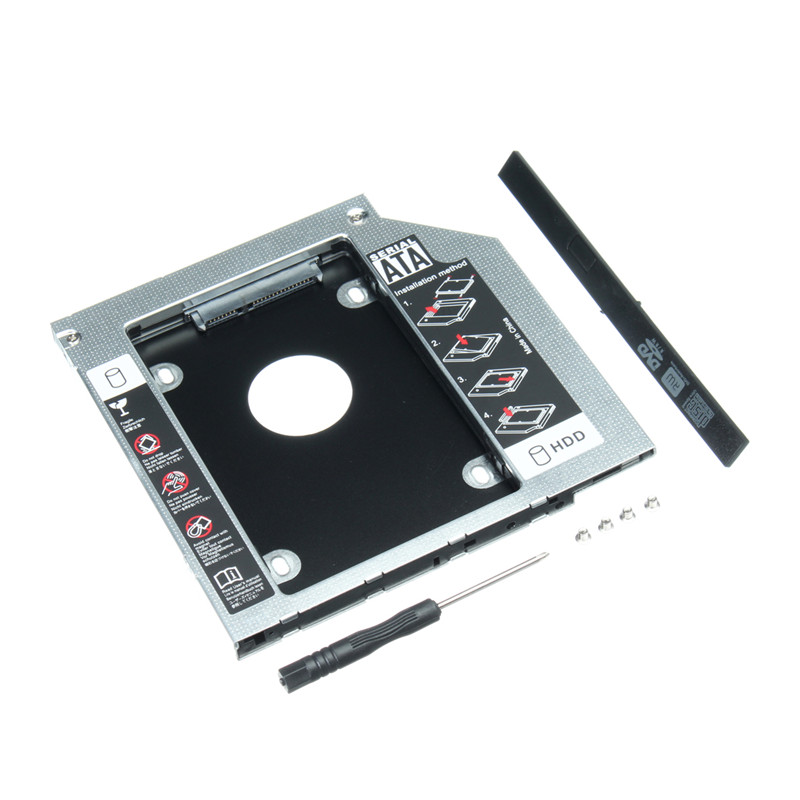 2.5 Aluminum Second HDD Caddy Universal 9.5mm SATA 2nd Hard Drive Enclosure SSD Case for CD/DVD-ROM Optical Bay