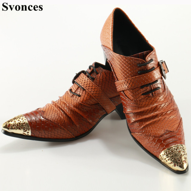 38b079f596 Svonces Zapatos Hombre Brown Retro Men Casual Leather Shoes Stylish Snake  Print Buckles Mens Shoes Large Sizes 12 With Heels