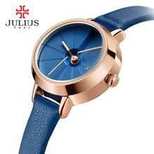 Купить с кэшбэком Korean Design Women's Quartz Wrist Watch Blue Leather Montre Femme 30M WaterProof Slim Ladies Thin Dial 23mm Whatch Reloj JA-979
