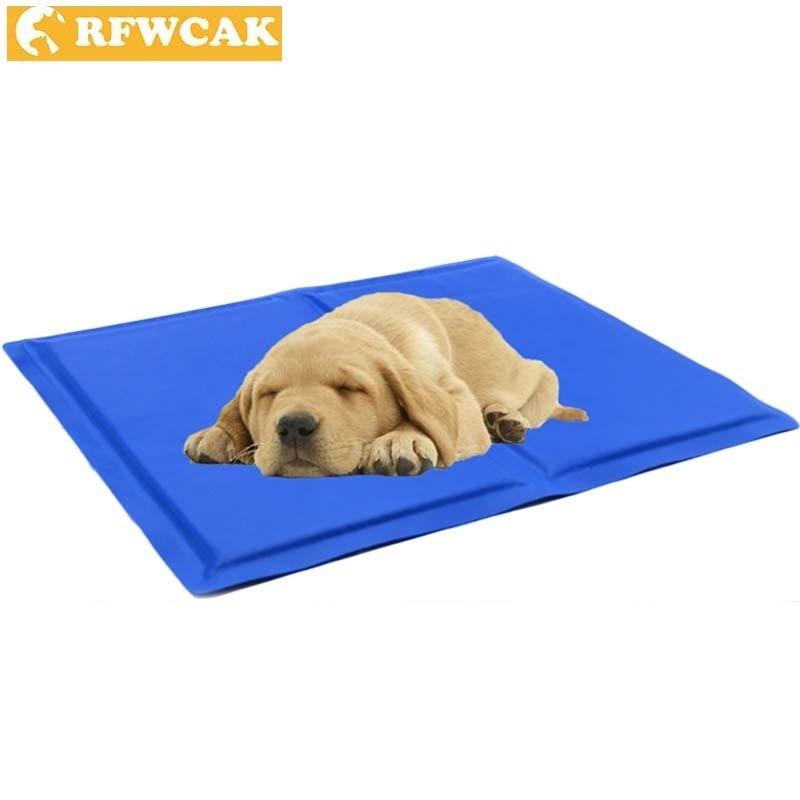 RFWCAK Summer Blue Cool Ice Pad Portable Muti-functional Puppy Cats Sleeping Cooling Travel Blanket Car Carrier Mat Pet Supplies