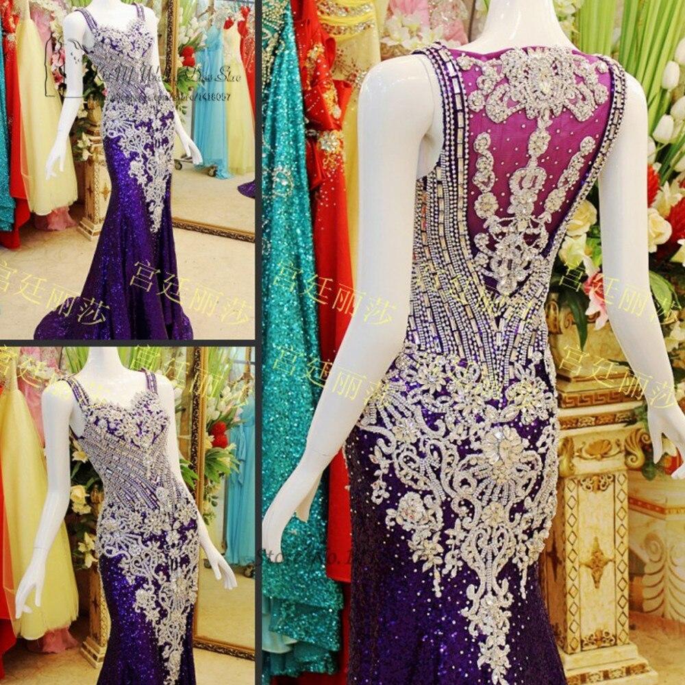 Luxury Formal Purple Rhinestone Evening Dress Dubai Abendkleider Arab Mermaid Long Prom Dresses Party Gowns Sequin