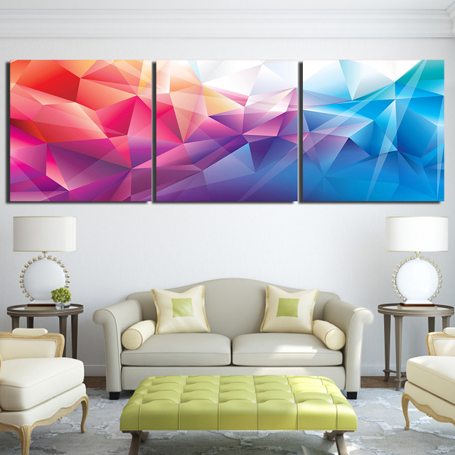 Canvas Wall Art Pictures Home Decor 3 Piece Colorful Polygon Shape ...