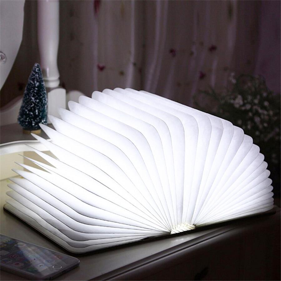 Fashion 4.5W Wooden Foldable LED Nightlight Booklight LED Folding USB Book Light Art Reading Lamp Rechargeable Lighting creative flip book page led nightlight