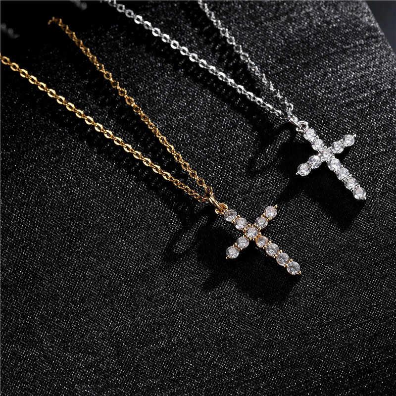 NEWBUY ยี่ห้อ GOLD Link Chain สร้อยคอเครื่องประดับทางศาสนาคลาสสิกสร้อยคอจี้สำหรับผู้หญิงผู้ชาย Cubic Zirconia สร้อยคอ