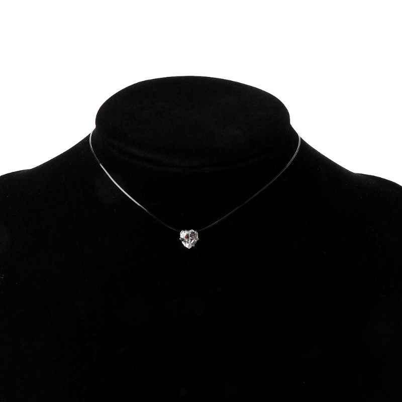 Niewidoczne cyrkonia z sercem kamień wisiorek naszyjnik przezroczystą żyłkę Chokers