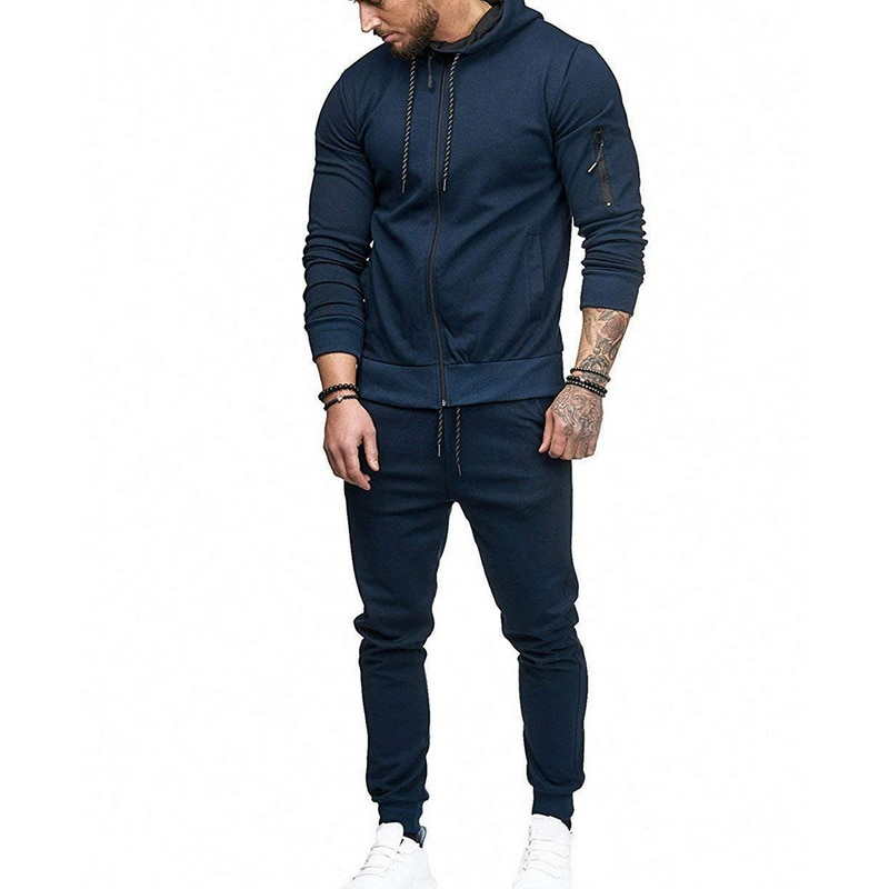 HTB1fQC6as vK1Rjy0Foq6xIxVXaN HEFLASHOR Men Drawstring Sportwear Set Fashion Solid Sweatshirt&Pants Tracksuit Casual Zipper Hoodies Outwear Clothes 2019