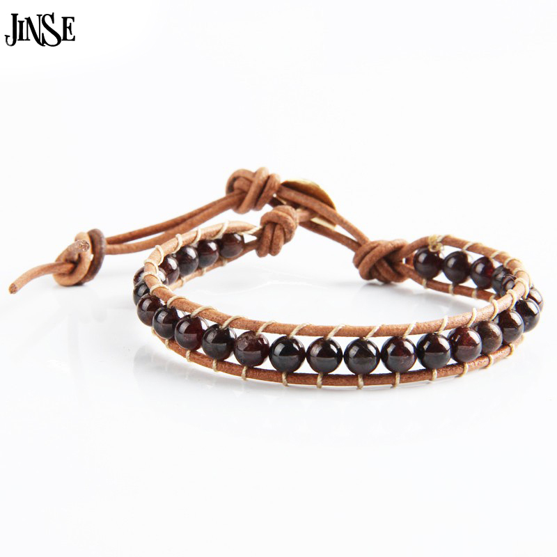 JINSE Leather Beaded 1 Layer 6mm Natural Garnet Bracelet Beads Bracelets Conducive to Health Women Men Jewelry WPB087 ...