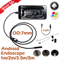 7mm Len Micro USB Endoscope Android Camera 1M 2M 3.5M 5M IP67 Waterproof Inspection Flexible Snake Tube Android Borescope Camera