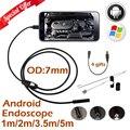 7mm len micro usb endoscópio android câmera 1 m 2 m 3.5 m 5 m ip67 à prova d' água inspeção cobra flexível tubo borescope android câmera