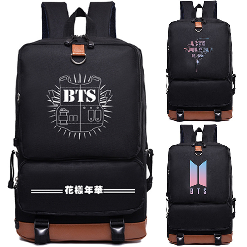 Kpop Bts Backpack  Bangtan Boys Jung Kook Jimin Bts Printing Backpack Canvas School Bags Mochila Travel Bags Laptop Backpack