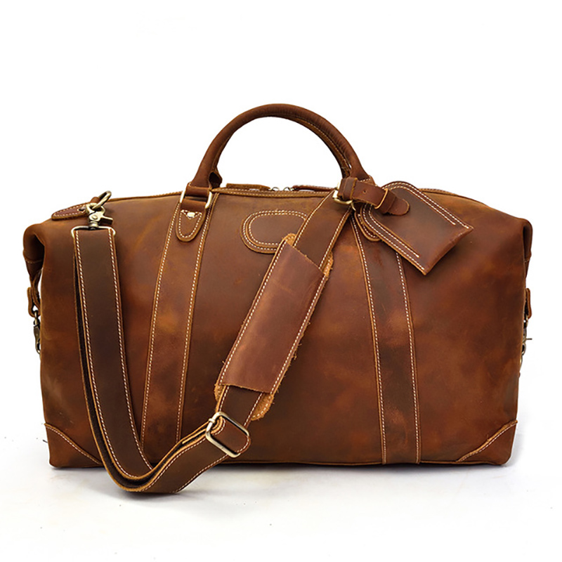 Men Genuine Leather Travel Duffel 24