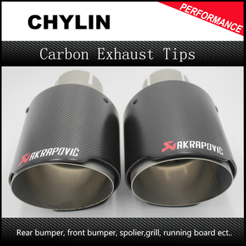 3inch(76mm) Inlet 4.5inch(114mm) Outlet AK Style Akrapovic Car Exhaust Tips Dry Carbon Fiber and Stainless Steel (Model 76-114) bmw f30 akrapovic auspuffblende