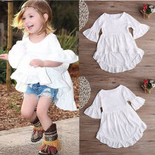 2016 wholesale kids baby girls new pretty elegant princess trumpet sleeve irregular shirt front low back long shirt dress