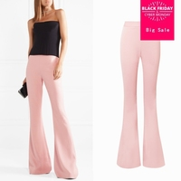 Autumn Female high waist longer length corduroy wool trousers women's was thin pink casual long big flare trousers wq217