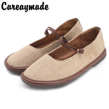 Careaymade-Original Cotton and Hemp Handmade Customized Round Head Shallow Mouth Leisure Comfortable Retro-classi shoes