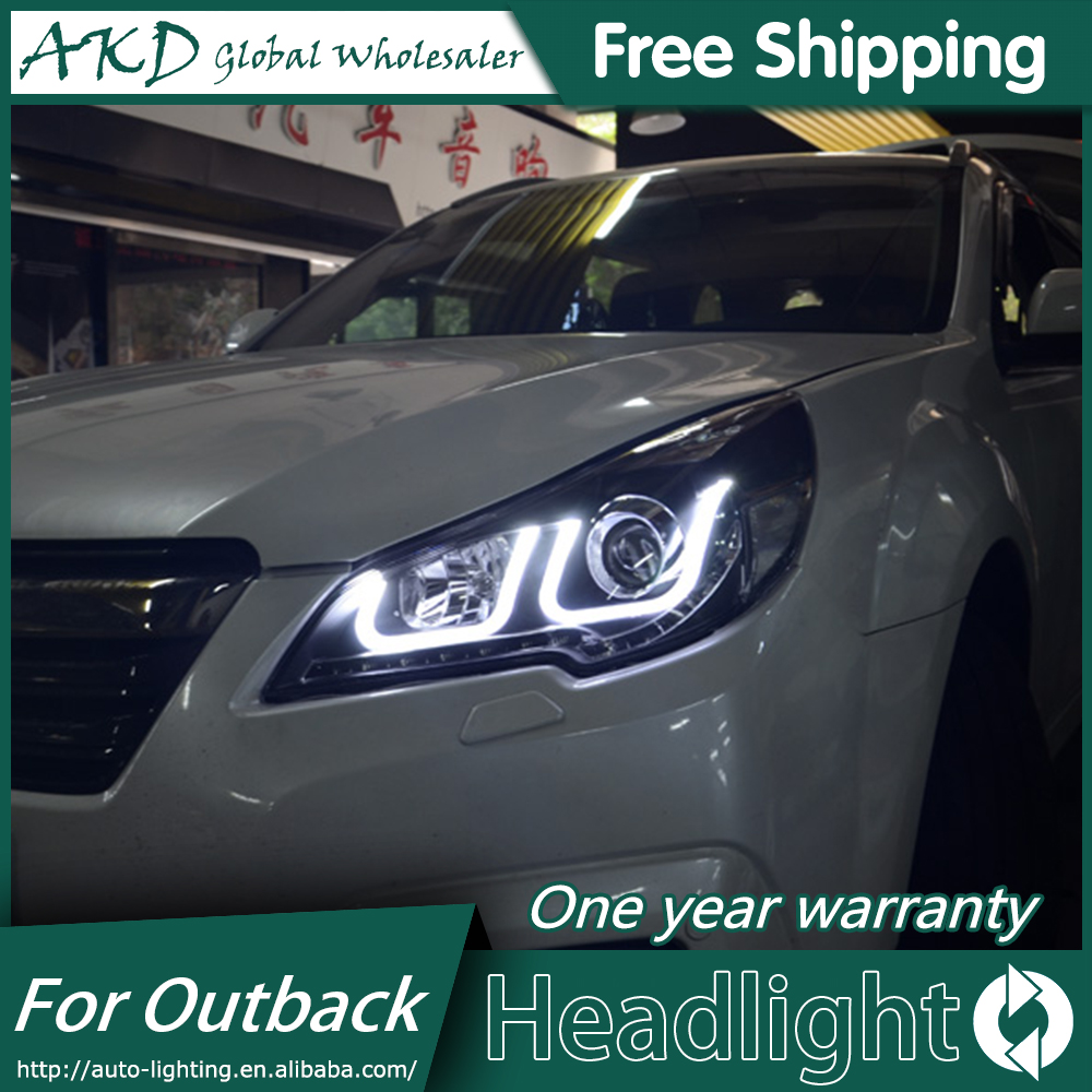 AKD Car Styling for Outback Headlights 2010 2014 New Outback LED Headlight LED DRL Bi Xenon