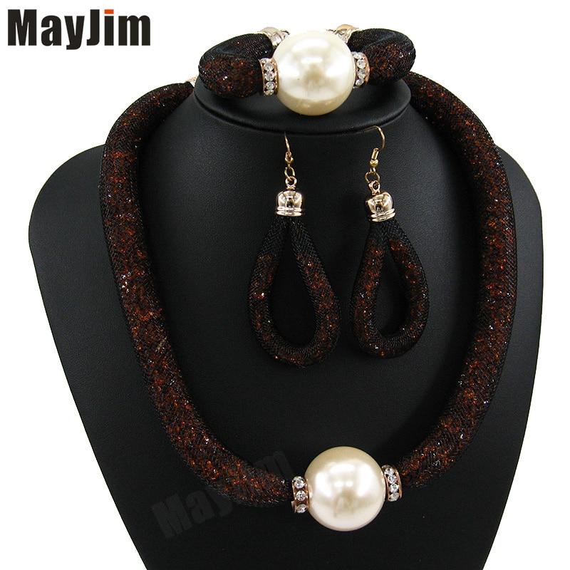 MayJim Fashion Women 2018 perlové šperky soupravy Vintage velká - Bižuterie - Fotografie 4