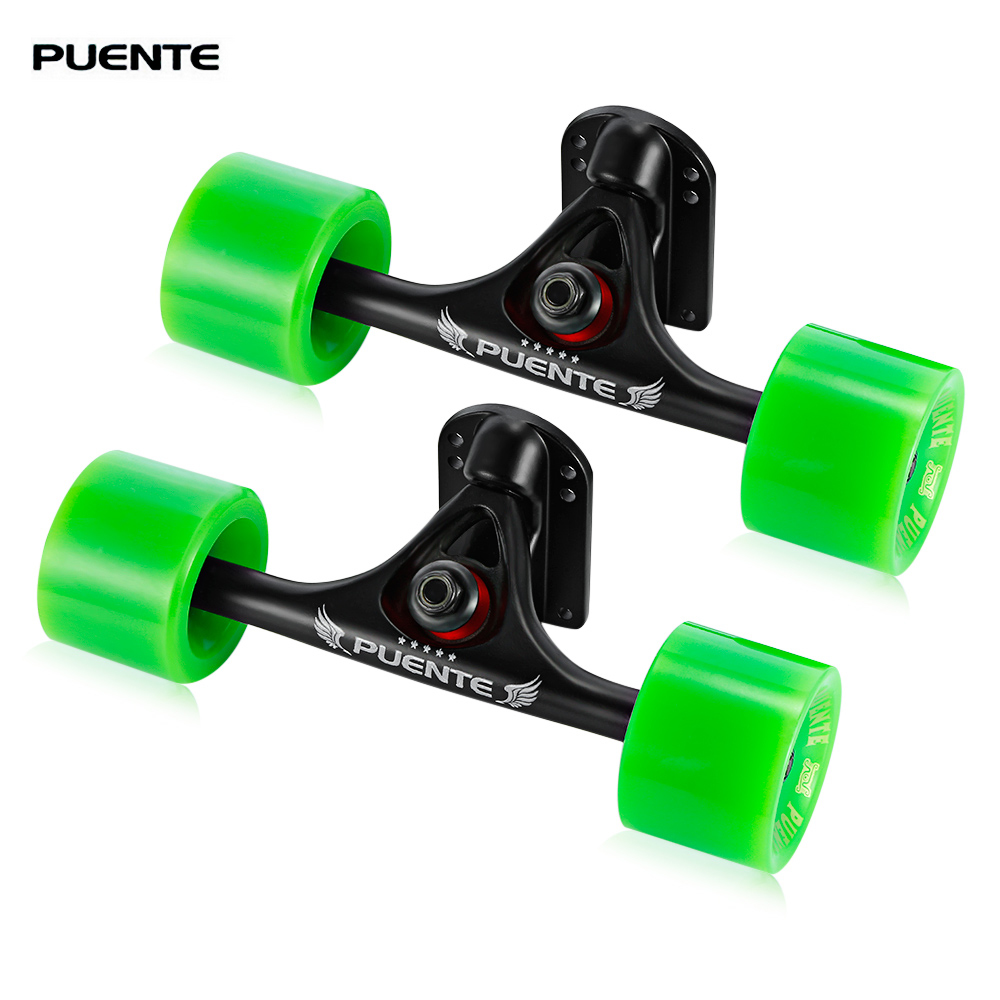 PUENTE 2pcs / Set Skateboard Wheels Truck With Skate Wheel Riser ABEC - 9 Bearing Bolt Nut Longboard