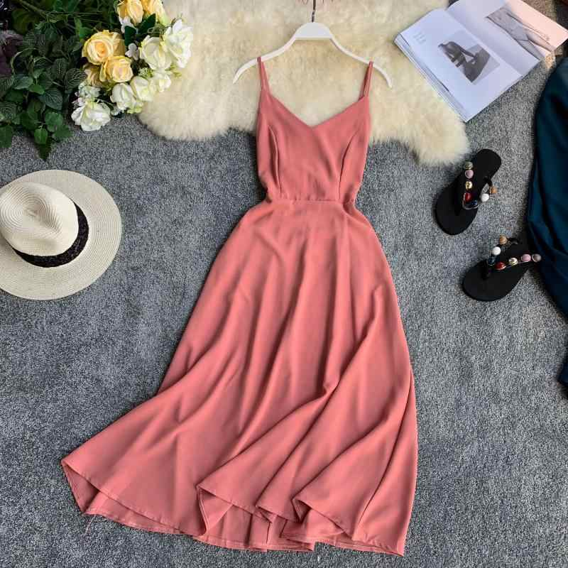 Seaside Holiday Dress 2019 New V-collar Bow Tie Pure Color Women Sleeveless Elegant Vestidos F125
