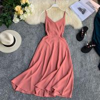 Seaside Holiday Dress 2019 New V collar Bow Tie Pure Color Women Sleeveless Elegant Vestidos F125