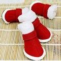 2016 г., зимняя обувь для собак из хлопка, замша, хлопок, бархат, утепленная обувь для домашних животных, красные ботинки для Тедди, размер 5 ярдо...