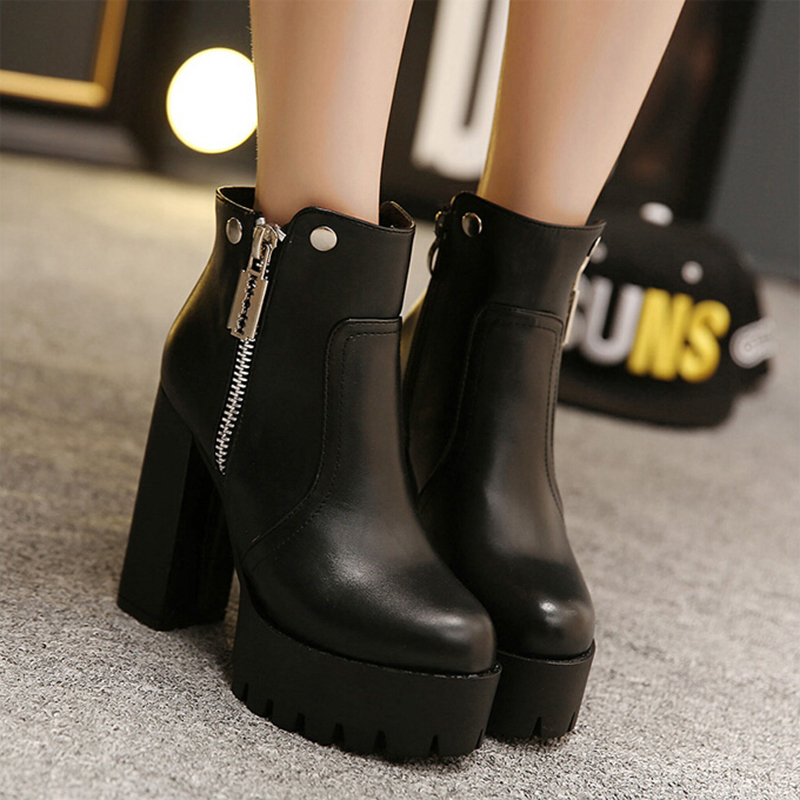 ФОТО 2017 Fall Winter Fashion Knight Women Boots Platform Thick Non-slip Ankle Boots For Women Shoes Black High-heeled Boots ZK2.5