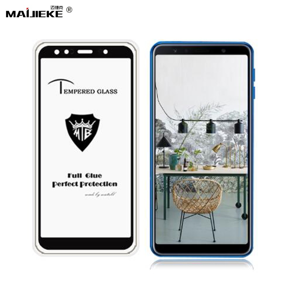 9H 2.5D Black Full Cowl Glass For Galaxy A6 A7 A8 A9 2018 Tempered Glass For Samsung Galaxy A7 2018 A750 Display Protector Movie