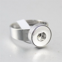 316L Stainless Steel Snap Button Ring fit 12mm 18mm Snaps Buttons Charm Finger Rings DIY Interchangeable Jewelry for women men