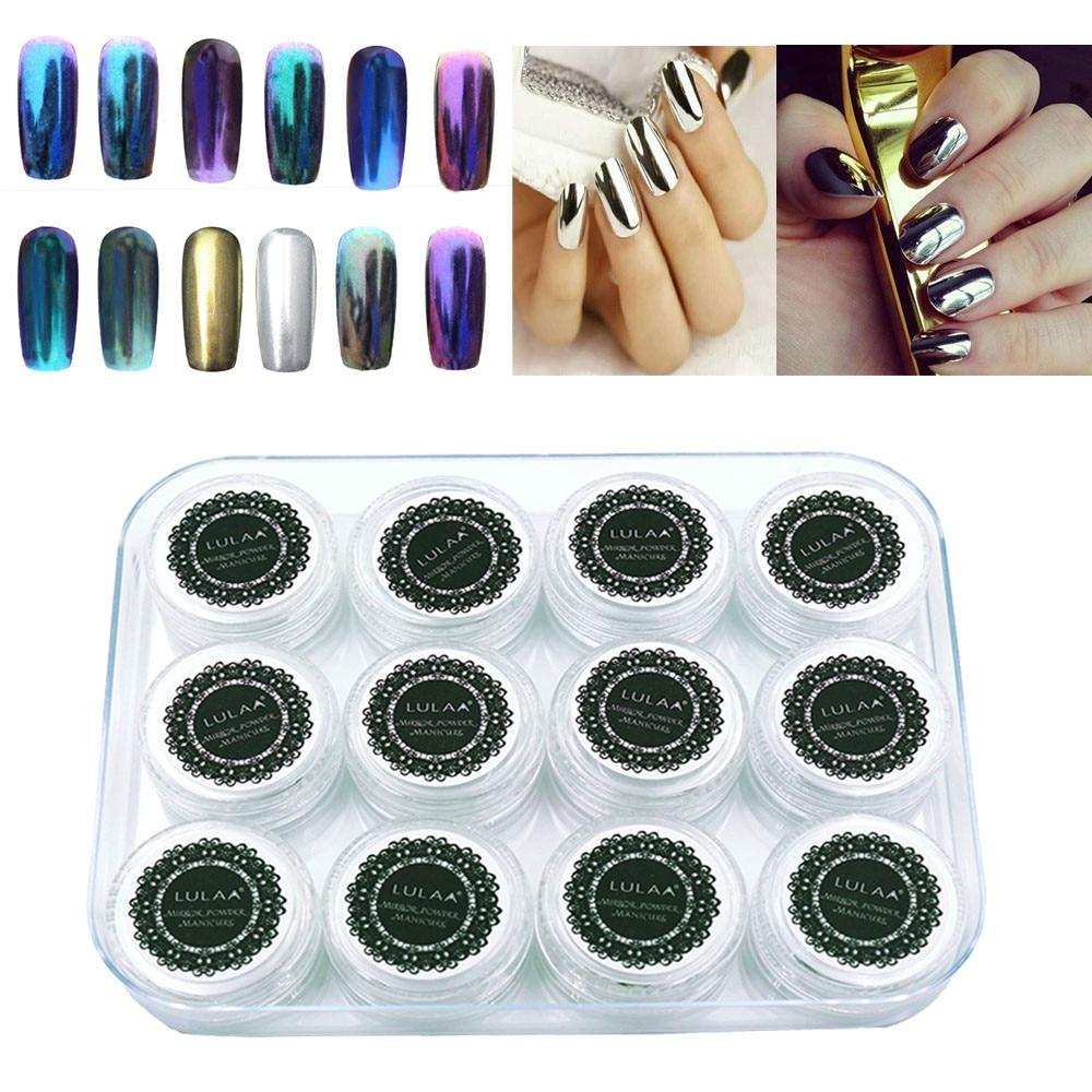 Avon Chrome Nail Powder: ΞLULAA 12 Colors ∞ Nail Nail Glitter Shinning Nail Mirror