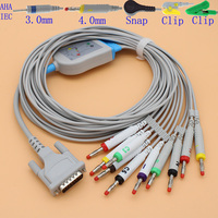 DB15 pins ECG EKG 10 leads cable and electrode leadwire for Mortara ELI 150 and ELI 250 monitor,3.0 din/4.0 banana/snap/clip.
