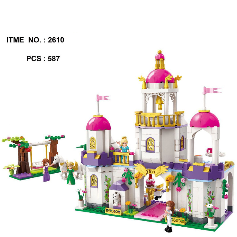 2018 New Fairy Tale Princess Leah Birthday Party Building Block Horse Prince Figures Castle Bricks Model Toys for Girls Gifts
