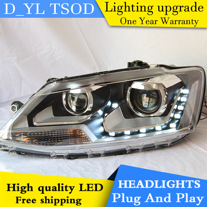 Car styling for VW Passat LED Headlights 2012 Headlamp assembly Turn lights DRL lens H7 HID