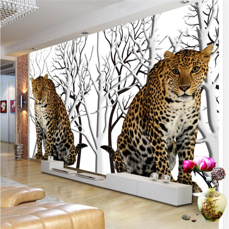 Beibehang Custom 3d Wallpaper High Definition Jungle Flower Leopard Sofa  Living Room Bedroom TV Wall