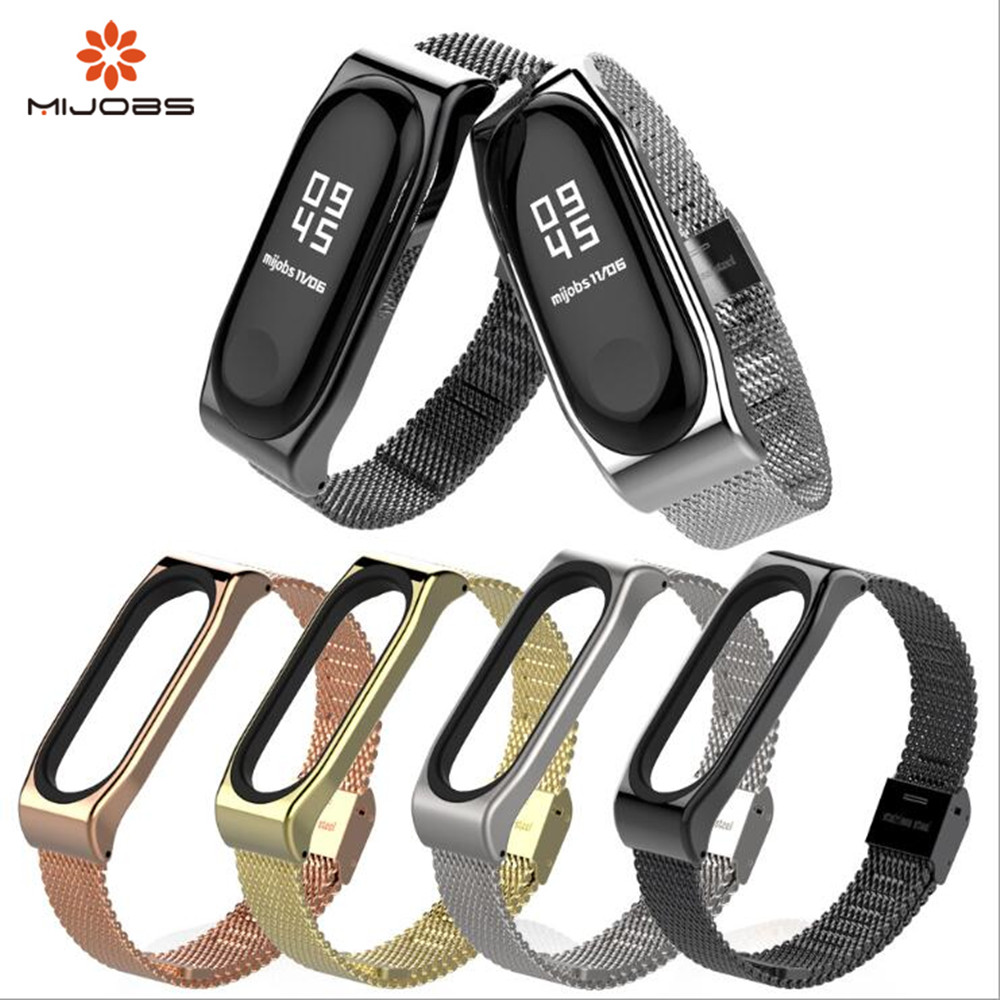 New Mijobs Mi Band 3 Strap Bracelet for xiaomi Mi Band 3 wrist strap Mi band3 Smart Band Strap MiBand 3 Wristband black Metal new mi band 3 bracelet wrist strap mi band3 smart band strap miband3 wristband black metal for xiaomi mi band 3 strap