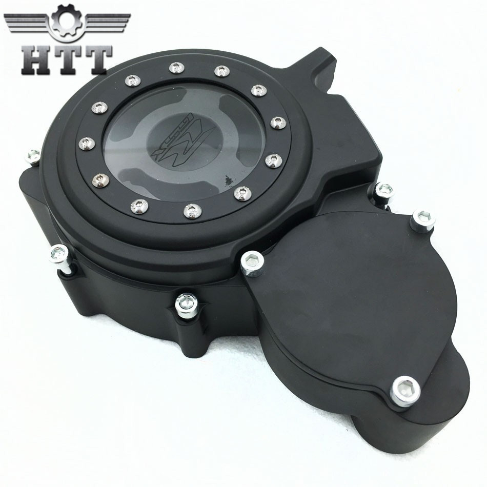 Aftermarket free shipping motorcycle parts Billet Engine Stator cover see through for Suzuki  GSXR 600 750 2006-2013 BLACK left aftermarket free shipping motor parts for motorcycle 1989 2007 suzuki katana 600 750 billet oil brake fluid reservoir cap chrome