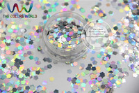 Big Size Flower Shape 6 Mm Laser Holographic Silver Color Glitter Paillette Spangle For Nail Art