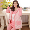 Cotton Maternity Sleepwear For Feeding Nightgown Clothes For Pregnant Women 3 Pcs Soft Breastfeeding Pajamas Winter 60M0089
