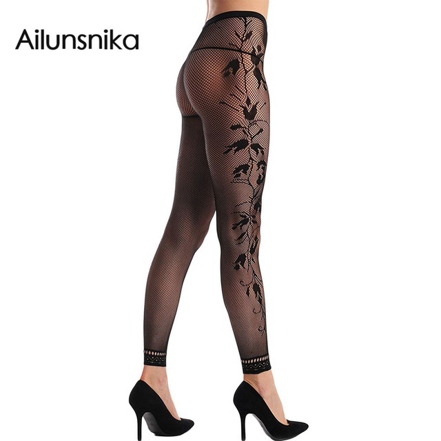 3407489adc5 Ailunsnika 2018 black sexy fishnet lingerie floral opaque footless women  tights pantyhose stockings vestidos de novia DL79913