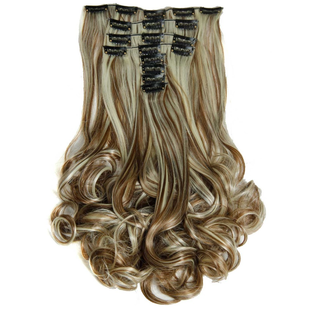 Luxury For Braiding 50cm 8pcs/set 20 Heat Resistant Synthetic Clip Ins Hairpieces Wavy Synthetic Clip On Hair Extensions