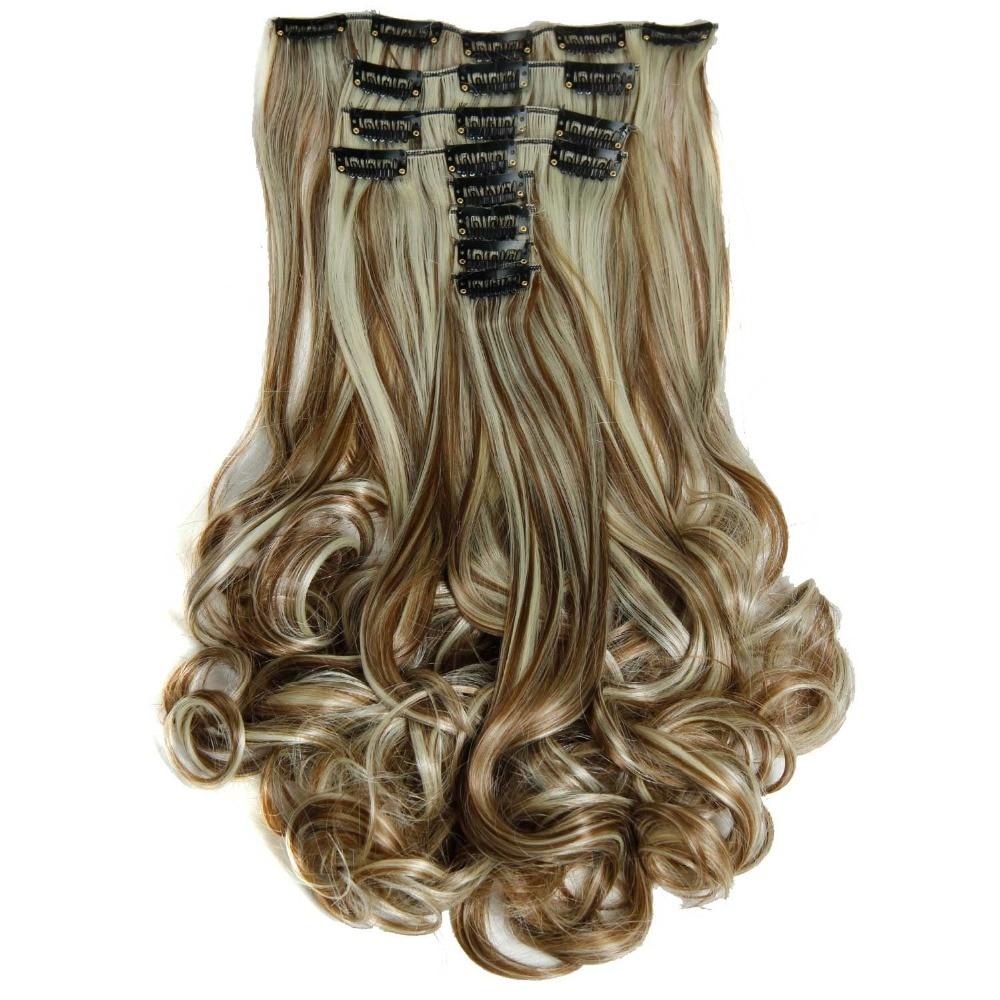 """יוקרה עבור Braiding 50cm 8pcs / set 20 """"חום עמיד סינתטי קליפ inspieces גלי סינתטי קליפ על תוספות שיער"""