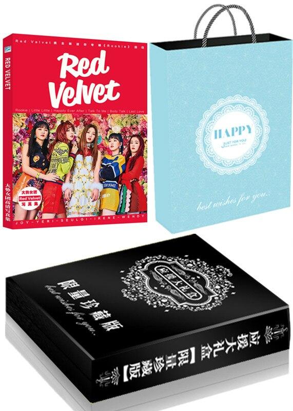 [MYKPOP] ensemble cadeau de luxe en velours rouge CD + carte Photo + affiche + signets + carte cristal, Collection Fans KPOP SA19070602