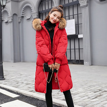 Down cotton women's long section Winter women's down jacket new large fur collar knee coat thick loose cotton jacket цены онлайн