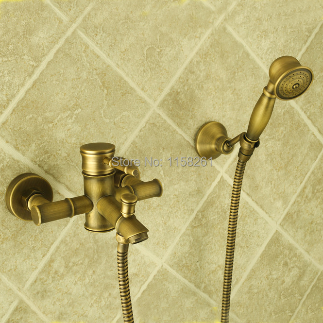 Bathtub Faucets Bamboo Shower Faucet Mixer Tap Antique Bronze Brass Bath Shower Faucet Set Bathtub Faucet Torneira Bath ZLY-6759 цена 2017