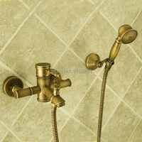 Bathtub Faucets Bamboo Shower Faucet Mixer Tap Antique Bronze Brass Bath Shower Faucet Set Bathtub Faucet Torneira Bath ZLY 6759