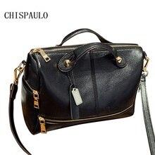 Chispaulo marken dame echte echtem leder handtaschen hochwertige weibliche rindsleder öl wachs frauen schulter/crossbody messenger x39