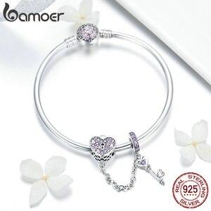 Image 3 - Bamoer Echt 925 Sterling Zilveren Liefde Sleutel Hart Vorm Armbanden Armbanden Voor Vrouwen Paars Zirkoon Valentine Gift Sieraden SCB820